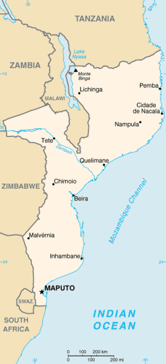 Transport in Mozambique - Image: Mz map