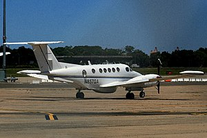 Beechcraft Super King Air - This 200T Super King Air built in 1979 shows all the major modifications for this variant; belly radar pod and camera hatch, wingtip fuel tanks, and domed window on the side of the rear fuselage