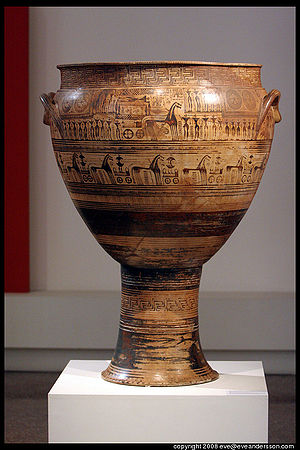 Pottery of ancient Greece - The Hirschfeld Krater, mid-8th century BC, from the late Geometric period, depicting ekphora, the act of carrying a body to its grave. National Archaeological Museum, Athens.