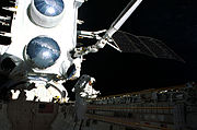 NASA image STS37-051-021 Jay Apt on the first EVA of STS-37 with CGRO