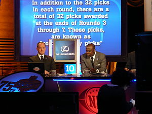 Marshall Faulk - Faulk (right) and Rich Eisen during the 2010 NFL Draft