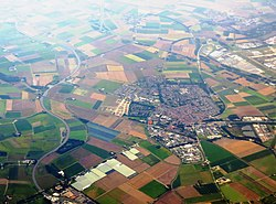 Aerial view over Moerdijk (Zevenbergen in centre)