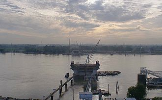 Stan Musial Veterans Memorial Bridge - The bridge towers under construction, July 2011