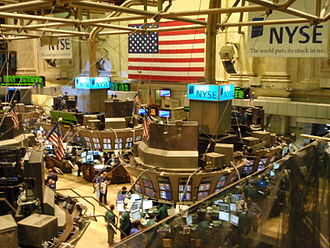 Stock market - The trading floor of the New York Stock Exchange (NYSE) in the blooming era of Internet.