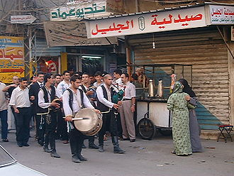 Nahr al-Bared - Palestinians celebrating at more quiet times in Nahr al-Bared, 2005.