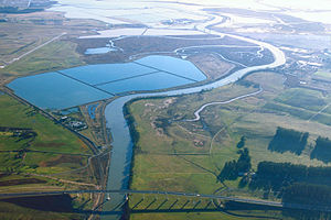 Napa River - Aerial view of the southern end of the Napa River in the Napa-Sonoma Marsh