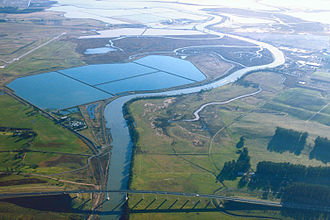 Napa Sonoma Marsh - Aerial view of the southern end of the Napa River in the Napa-Sonoma Marsh