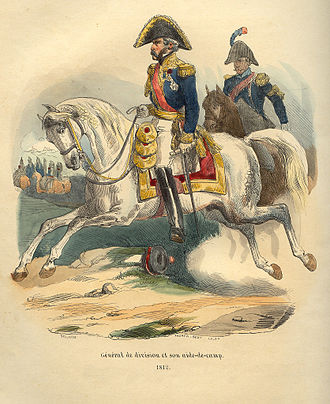 A French aide-de-camp (right) assisting a general de division (centre), during the Napoleonic wars. Napoleon Division General by Bellange.jpg