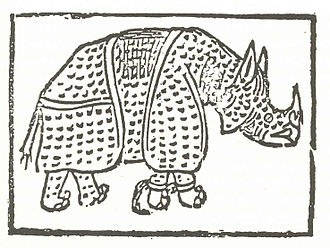 Dürer's Rhinoceros - The first known print of the rhinoceros is a rather primitive woodcut which illustrates a poem by Giovanni Giacomo Penni published in Rome in July 1515. (Biblioteca Colombina, Seville).