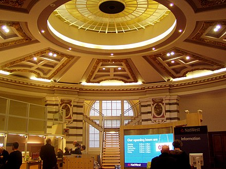 An interior of a branch of National Westminster Bank on Castle Street, Liverpool NatWest Castle Street.jpg