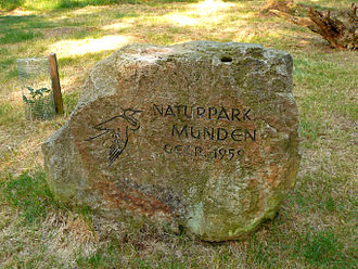 Münden Nature Park - Monument to the nature park's foundation in 1959 near the Kleiner Steinberg