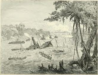 Brazilian ironclad Rio de Janeiro - Image: Naval Warfare in Paraguay. Destruction of a Brazilian Gunboat by a torpedo