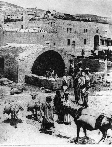 Fountain in Nazareth, reputed to have been used by the Holy Family (photograph, 1917) Nazarene Fountain Reputed to be Mary & Jesus'.jpg