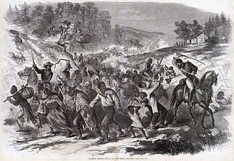 Battle of Gettysburg - A Harper's Weekly illustration showing Confederate troops escorting captured African American civilians south into slavery. En route to Gettysburg, the Army of Northern Virginia kidnapped approximately 40 black civilians and sent them south into slavery.
