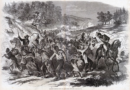 An 1862 illustration showing Confederates escorting kidnapped African American civilians south into slavery. A similar instance occurred in Pennsylvania, when the Army of Northern Virginia invaded it in 1863 to fight the U.S. at Gettysburg. Negroes Being Driven South By the Rebel Officers (November 1862), by Harper's Weekly.jpg
