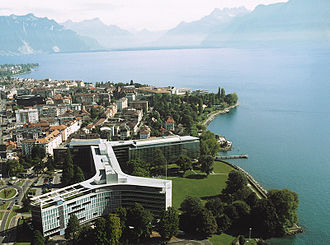 Nestlé - Aerial view of Nestlé's corporate headquarters building in Vevey, Vaud, Switzerland