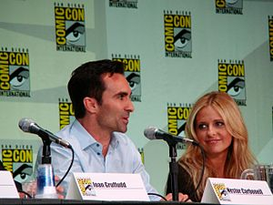 Nestor Carbonell - Carbonell and Sarah Michelle Gellar at the 2011 San Diego Comic-Con
