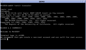 NetBSD - NetBSD/amd64 console login and welcome message