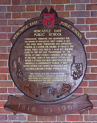 Newcastle East Public School - Plaque on the verandah dedicated to 150 years of operation