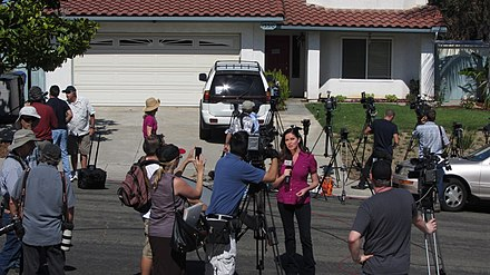 News Reporters Gather at San Diego Home of James Holmes's Parents after Colorado theater shooting in Aurora, Colorado, July 2012 News Reporters Gather at Home of James Holmes's Parents.jpg