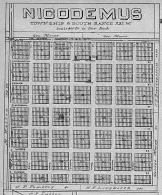 Nicodemus, Kansas - Image: Nicodemus plat map