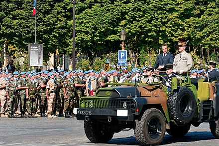 Nicolas Sarkozy, President of France and General Jean-Louis Georgelin, Chief of the Defence Staff, reviewing troops during the 2008 Bastille Day military parade on the Champs-Elysees in Paris Nicolas Sarkozy Bastille Day 2008 n1.jpg