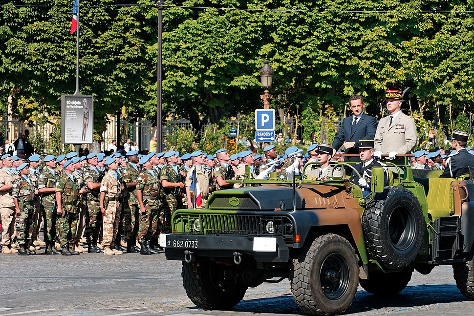 Nicolas Sarkozy, President of the Republic and General Jean-Louis Georgelin, Chief of the Defence Staff, reviewing troops during the 2008 Bastille Day military parade on the Champs-Élysées in Paris.