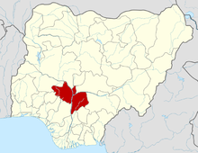 Kogi State is shown in red.