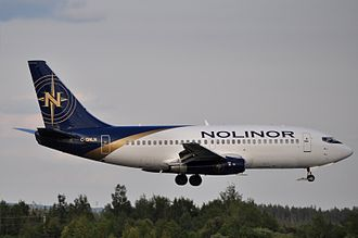Nolinor Aviation - A Nolinor Boeing 737-200 landing at Val-d'Or Airport