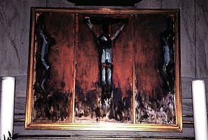 Sven Havsteen-Mikkelsen - Damsholte Church altarpiece painting of Christ on the cross (1993) by Sven Havsteen-Mikkelsen