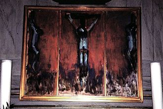 Damsholte Church - Altarpiece painting of Christ on the cross (1993) by Sven Havsteen-Mikkelsen