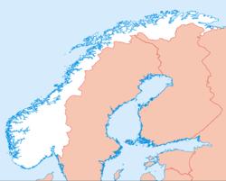 Bergen auf der Karte von Norwegen