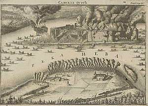 Siege of Nöteborg (1702) - An engraving of the siege by A Zubov, 1713