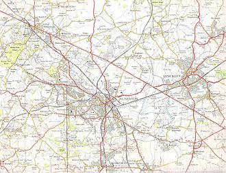 Hinckley - A 1961 1 inch = 1 mile series map. It covers the Hinckley-Nuneaton-Atherstone-Wolvey region. Harts Hill quarry is attached to a railway and in full swing. The coal mines near Griff Lodge Farm and Ansty Hall are in early decline. The mines are now shut. Note the (even by then) removed railway by Higham Grange and Higham on the Hill.