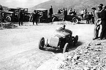 Nuvolari in sbandata controllata con l'Alfa Romeo 6C al Passo della Consuma nel 1930