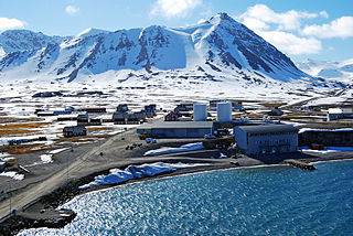 Research town in Svalbard, Norway