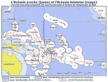 Oceania Vicina, in giallo. Oceania Lontana, in rosso-