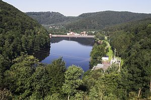 Oder Dam - View from the reservoir down to the stilling basin