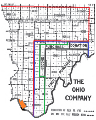 Scioto Company - The proposed purchase by the Scioto Company is shown in red.  The proposed purchase by the Ohio Company is in blue.  The final purchase by the Ohio Company is in green.  The French Grant is orange.