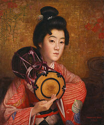 Первая реклама кимоно в реалистическом стиле. Окада Сабуроске.