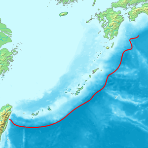 Ryukyu Trench - Red line indicates the bathymetric low of the Ryukyu Trench