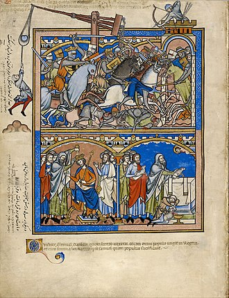 Morgan Bible - Siege, Samuel crowns Saul king, and they sacrifice together.