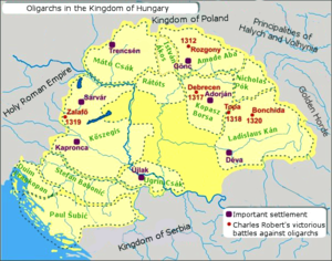 "Oligarch (Kingdom of Hungary) - The provinces ruled by the ""oligarchs"" (powerful lords) in the early 14th century"