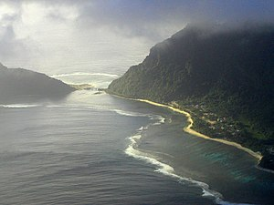 Ofu-Olosega - Aerial view - Olosega village on the right, Ofu on the left. Both islands are connected via a single-lane bridge, crossing the Asaga strait.