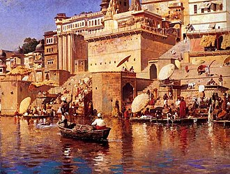 Varanasi - A painting by Edwin Lord Weeks (1883) of Varanasi, viewed from the Ganges