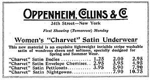 Charvet (fabric) - Advertisement (1916). Creative use of the term