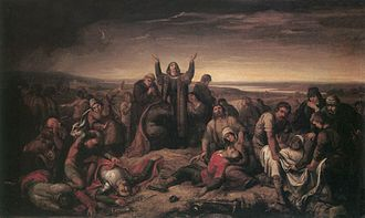 Soma Orlai Petrich - Dorottya Kaniszai (1490-?) Gathering the Dead after the Battle at Mohács (1860s)