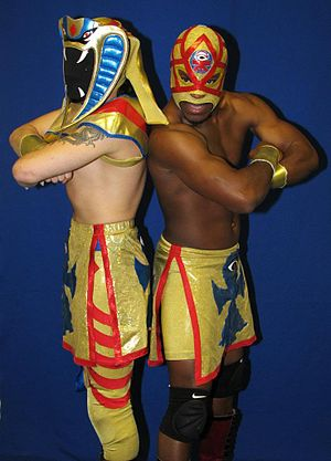 The Osirian Portal - Ophidian (left) and Amasis (right) before a JAPW show in 2010.