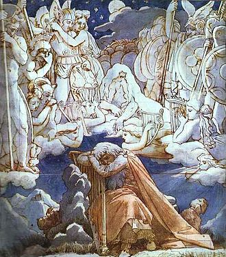 Ossian - The Songs of Ossian, ink and watercolors, Ingres, 1811–13