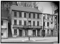 PERSPECTIVE VIEW OF SOUTH (FRONT) - Masonic Hall, Shenandoah Street, Harpers Ferry, Jefferson County, WV HABS WVA,19-HARF,36-1.tif